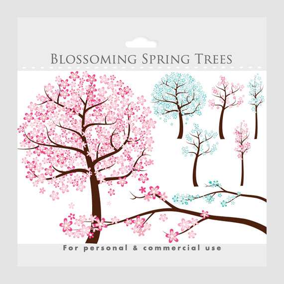 Blue clipart cherry blossom Flowering clip spring clipart Flowers