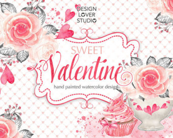 Pink Flower clipart spring tea Sweet spring bouquet hearts Watercolor