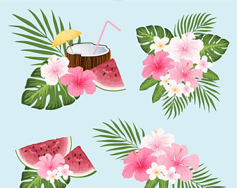 Caribbean clipart welcome flower Blush Pink Tropical Etsy Tropical