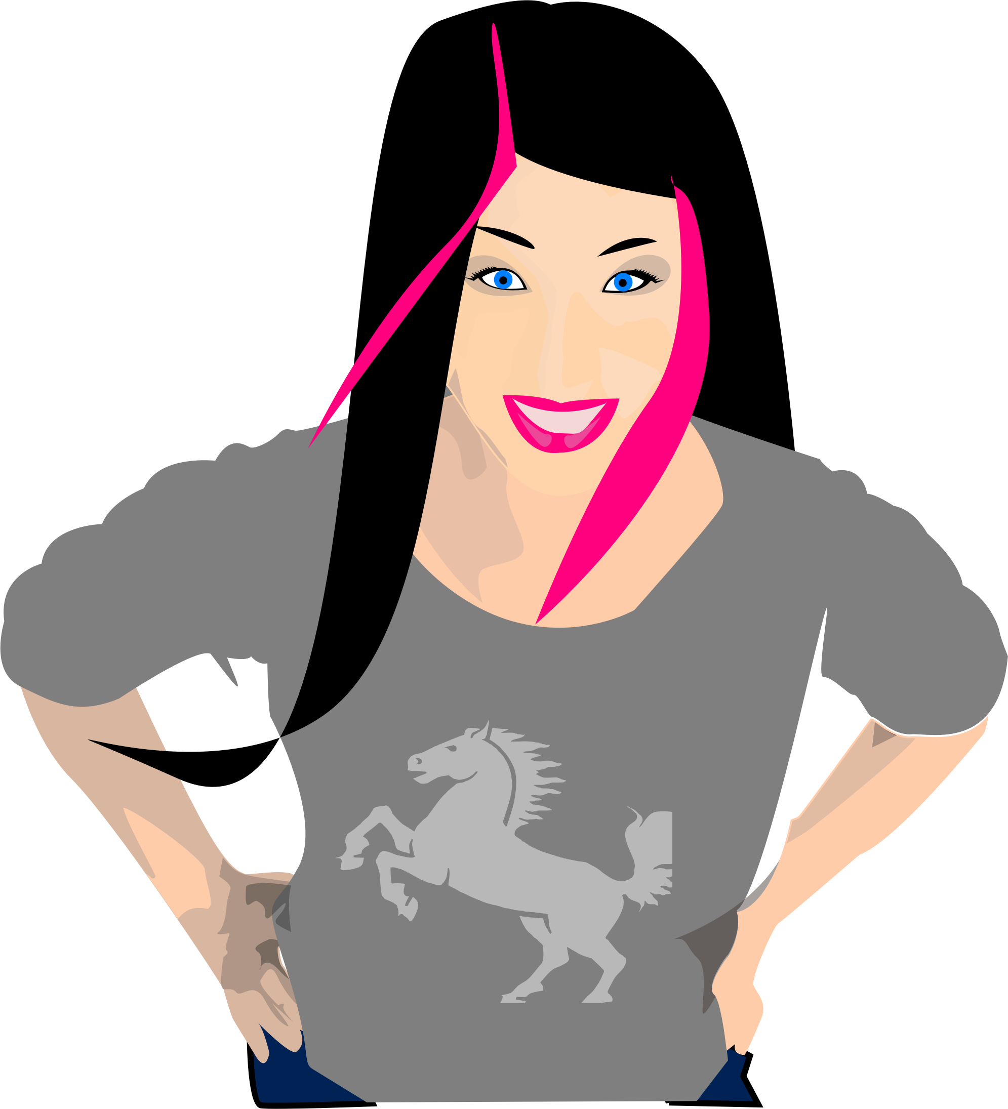 Pink Hair clipart With hair with black girl