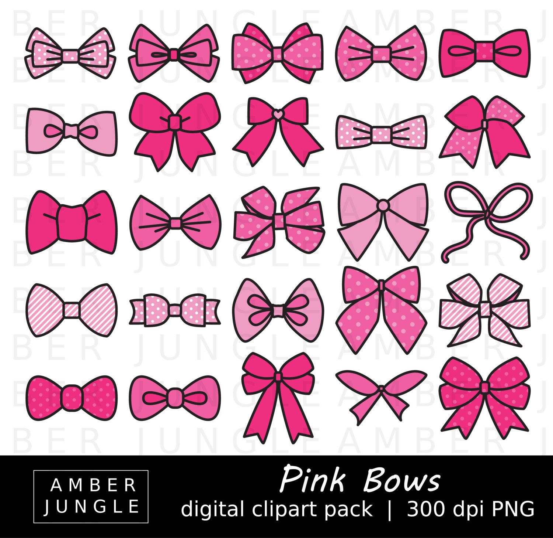 Pink Hair clipart girly bow Clip hair Ribbon bows Clipart