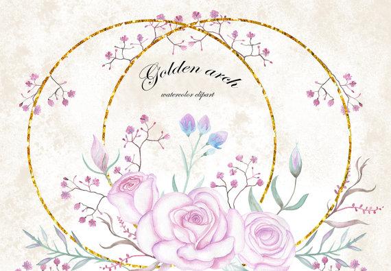 Pink Rose clipart glitter Flowers Clipart Watercolor glitter Digital