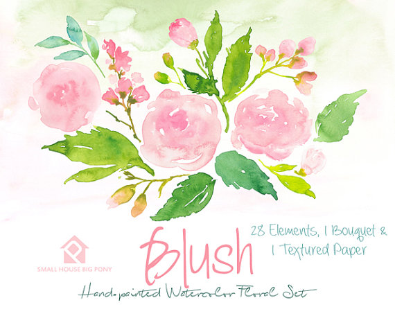 Pink Rose clipart painted From SmallHouseBigPony Clipart Watercolor Elements