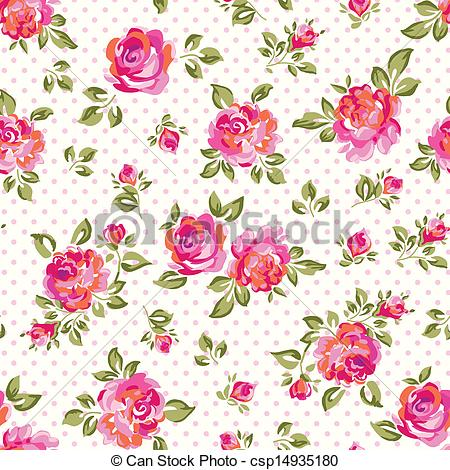 Pink Rose clipart painted Little seamless pink over roses