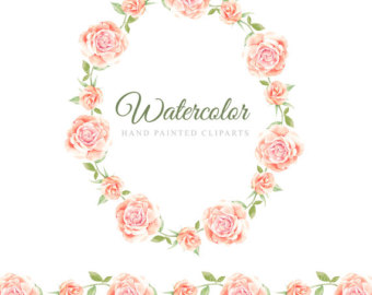 Pink Rose clipart painted Clipart clipart Watercolor Hand wreath