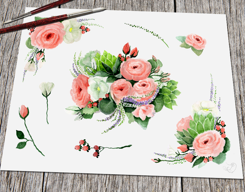 Pink Rose clipart flowery Is This Art Clip Watercolor