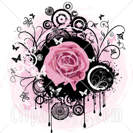 Pink Rose clipart pink black butterfly Circles Blooming Black White Clipart