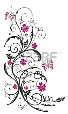 Pink Rose clipart pink black butterfly Krahl tattoo tribal Christine ideas