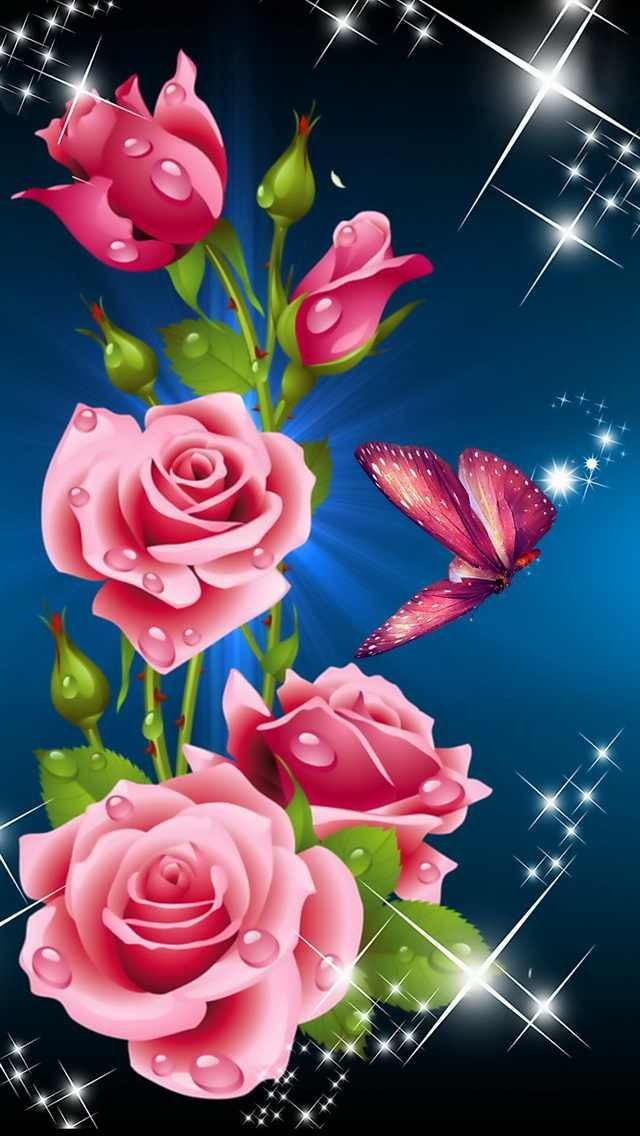 Pink Rose clipart flowery Roses Pink Butterfly  &