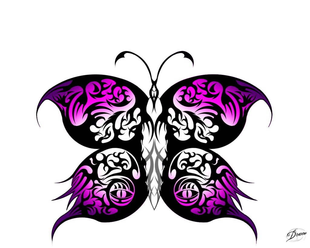 Pink Rose clipart pink black butterfly Drawings Pink Tribal tribal butterfly