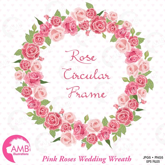 Pink Rose clipart pink object Bridal on Creative Market ~