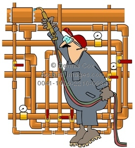 Pipe clipart cartoon Image: Plumber Sweating Copper Sweating