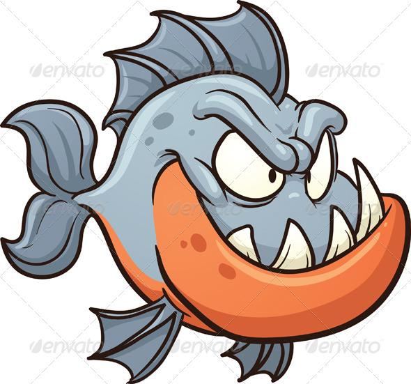Piranha clipart cute Cartoon Cartoon Piranha Piranha Cartoon