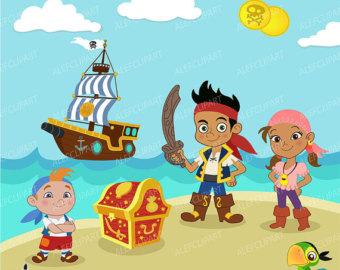 Pirate clipart beach Boys and Digital Pirate Clipart