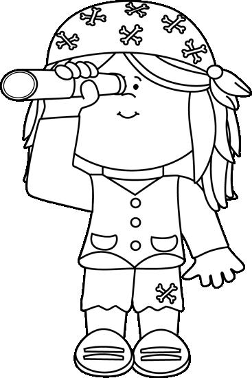 Pirate clipart black and white #11