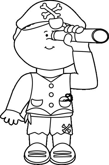 Pirate clipart black and white #3