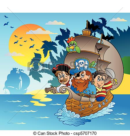 Pirate clipart island Three of boat  island