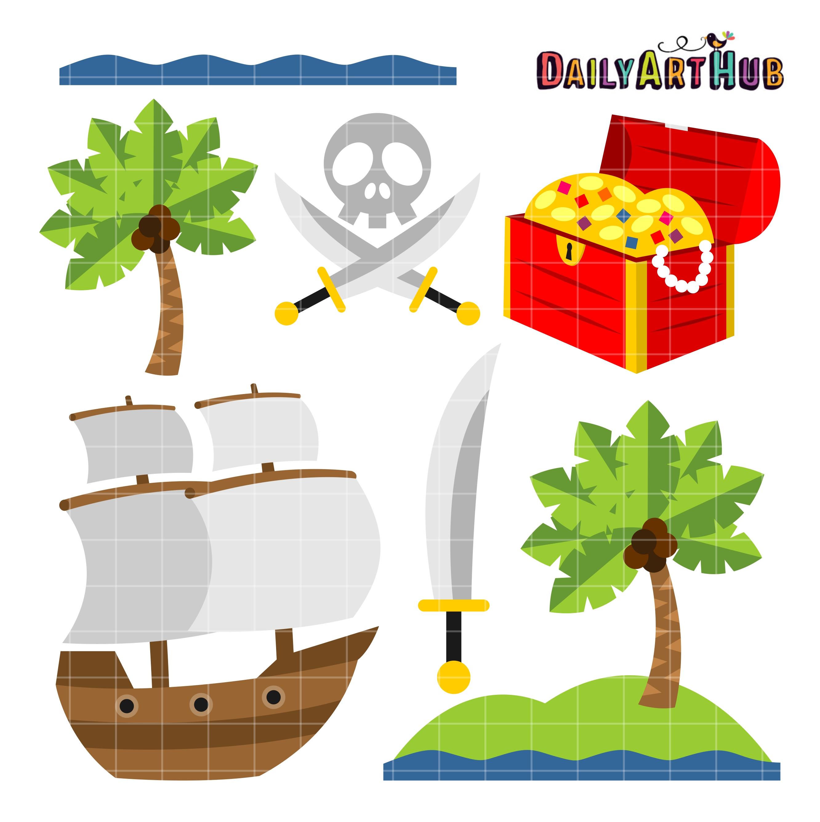 Pirate clipart island #8