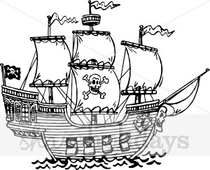 Pirate clipart outline Clipart Ship Outline Party Clipart