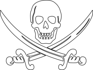 Pirate clipart outline #2