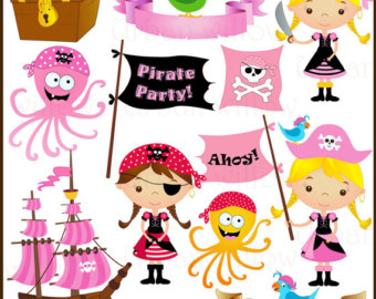 Pirate clipart pink Pirate Etsy clip art images