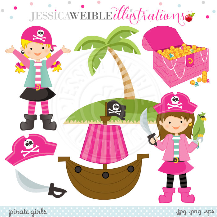 Pirate clipart pink Pirate girl Pink Pirate Etsy