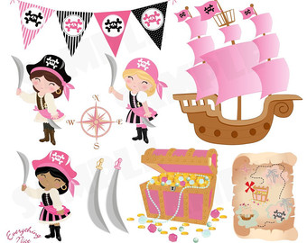 Pirate clipart pink Pirate Pirate Etsy Set Girls