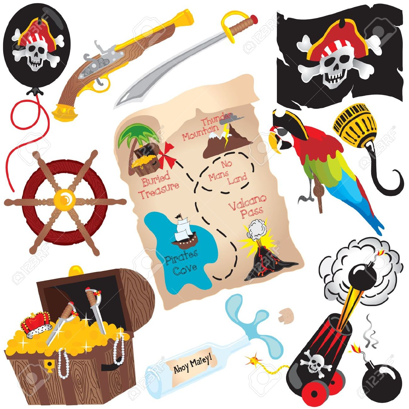 Pirate clipart pirate map #8