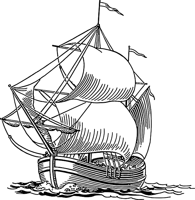 Boat clipart line drawing Sailing idea pirate sea ocean