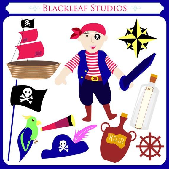 Caribbean clipart pirate captain Pirates art set clip sparrow