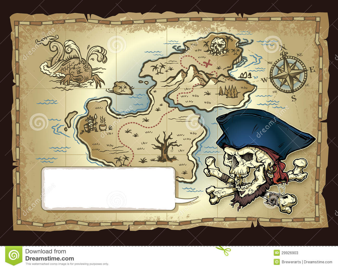 Caribbean clipart pirate map Map treasure VBS image Pirate