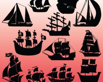 Sailing Ship clipart pirate the caribbean Black art Ship clip Pirate