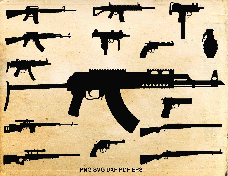 Assault Rifle clipart gun silhouette Clipart svg silhouette a Weapons