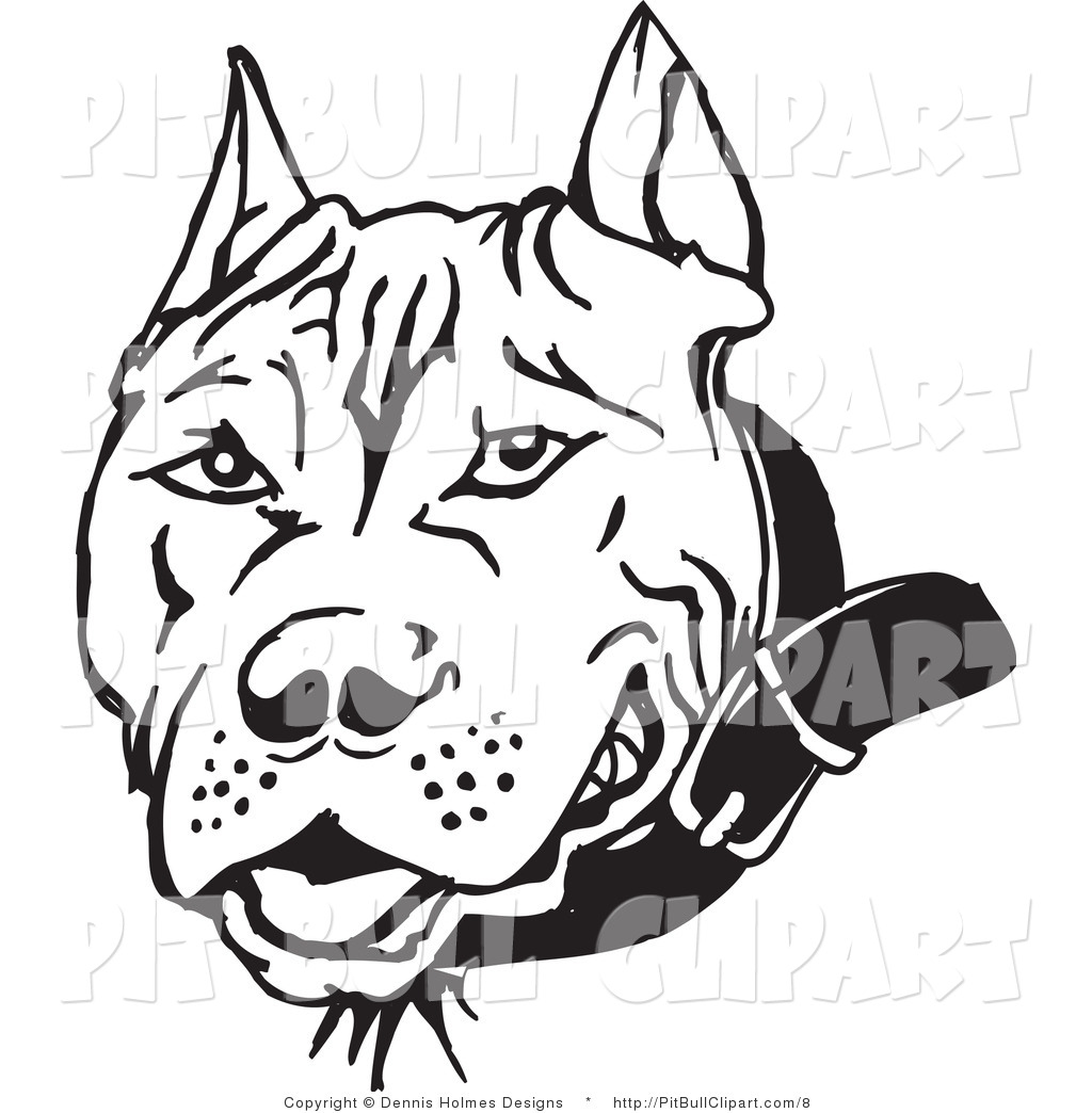 Pit Bull clipart black and white And Royalty  Designs Free