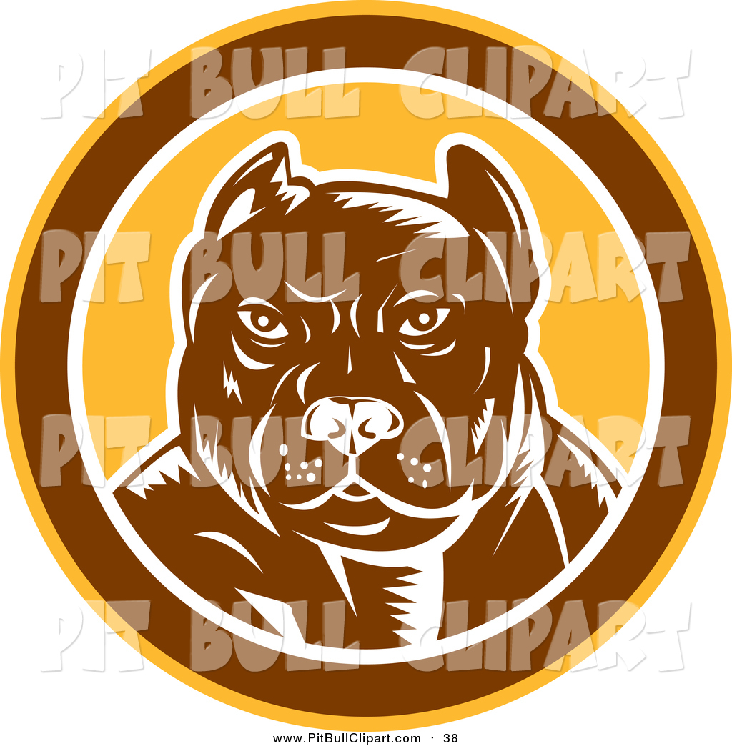 Pitbull clipart tough Brown Dog Free Woodcut in