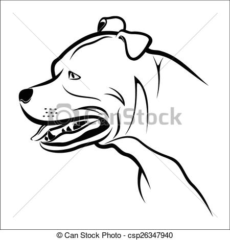 Pitbull clipart sketch EPS on Art clipart vector