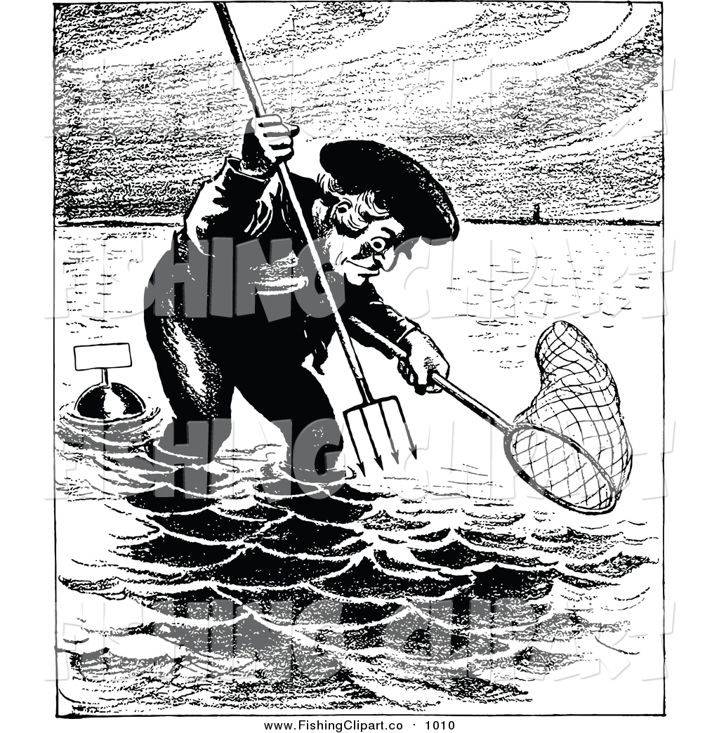 Fishing Net clipart man fishing With Pitchfork Clip  Man