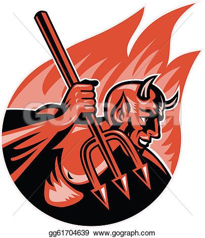 Pitchfork clipart trident Devil Devil with gg61704639 Clipart
