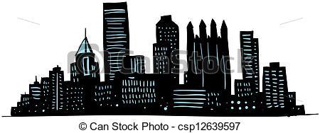 Pittsburgh clipart Csp12639597 skyline Pittsburgh Cartoon Pittsburgh