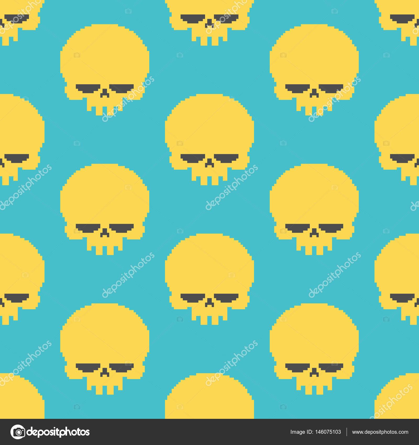 Pixel clipart skeleton head — Stock head Skull pixelated