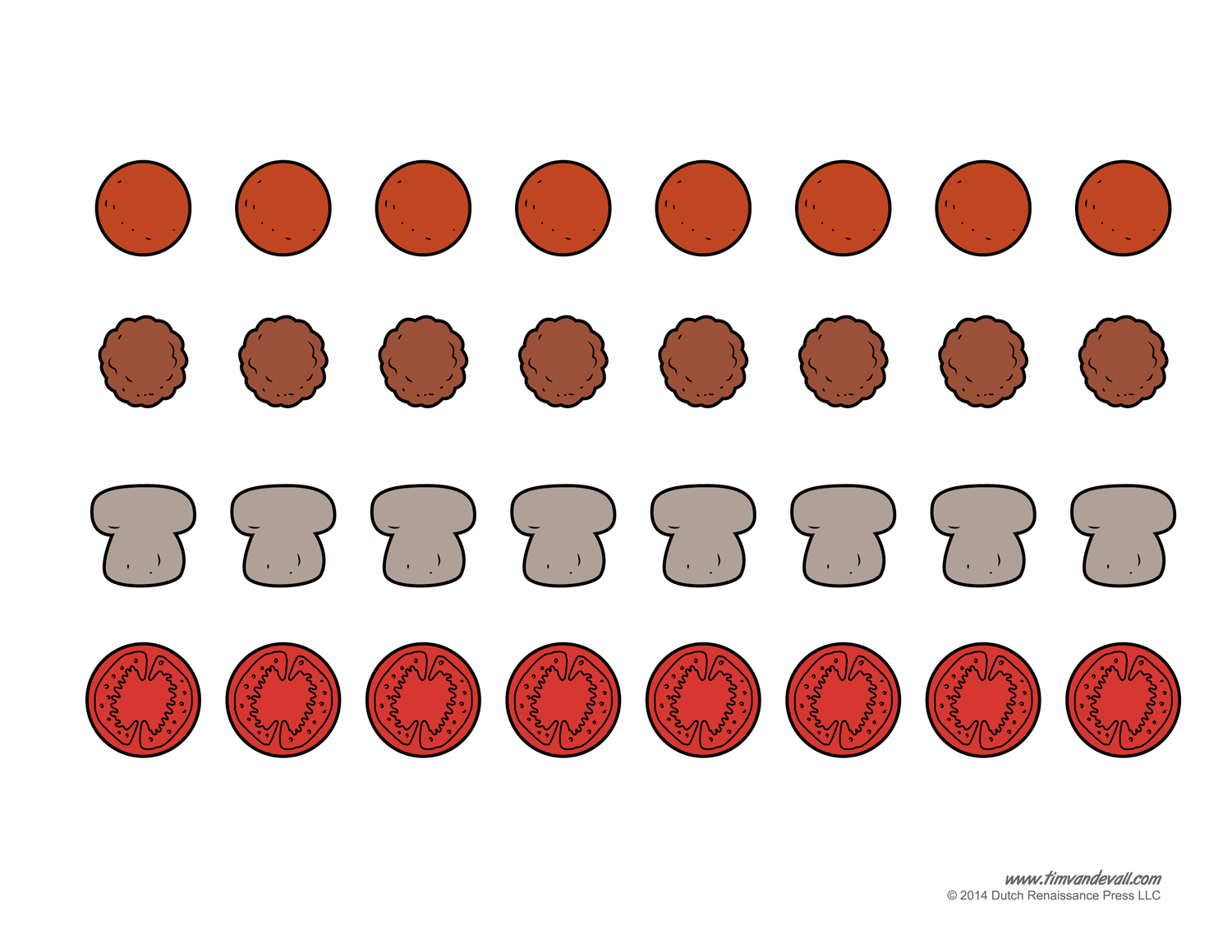 Mushroom clipart topping Blank Craft pizza Kids template