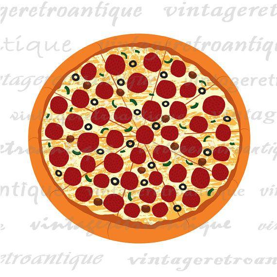 Pizza clipart clear background Vintage Printable Pizza Digital digital