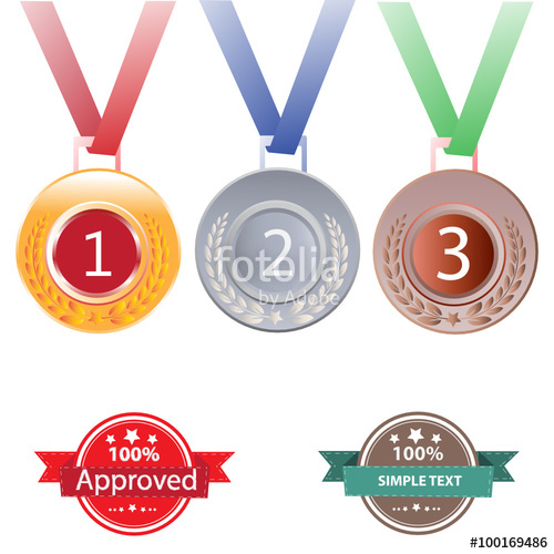 Silver clipart 2nd place medal Silver  with and red