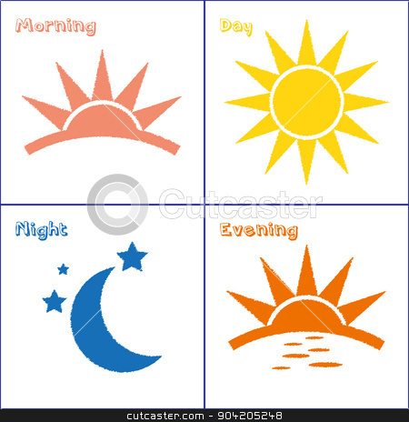 Morning clipart morning afternoon evening Set day Morning icon night
