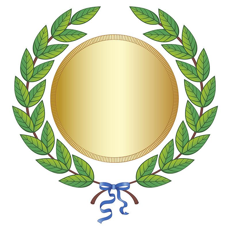 Wreath clipart medal Gold Leaf Ribbon Green Digital