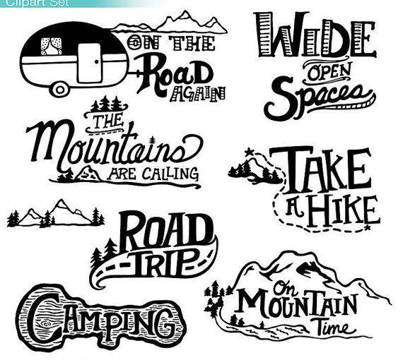 Adventure clipart black and white Auf Etsy Mountain TrishYochumDesigns ideas