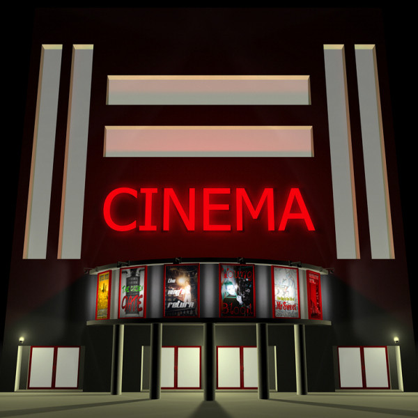 Bulding  clipart movie theater Model movie theater 3d theater