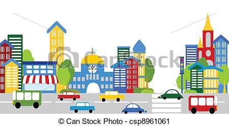 Place clipart city street Art buildings cars City cars