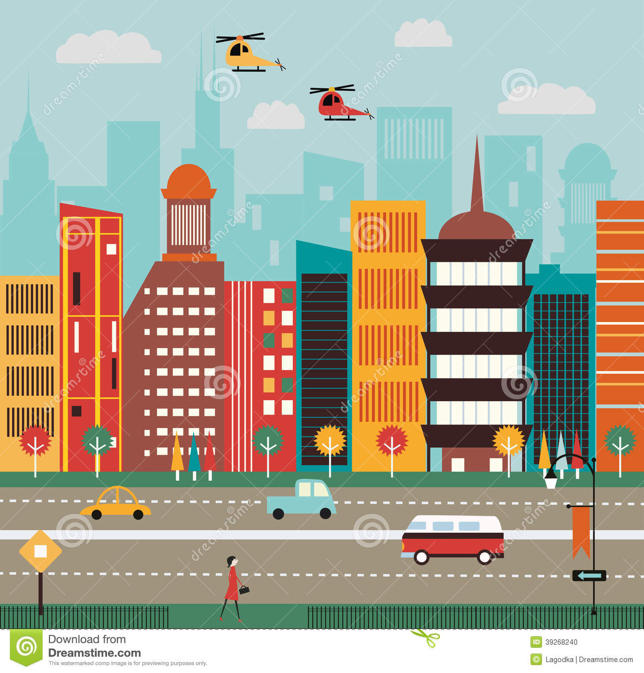 Place clipart city street  Clipart Big City Street