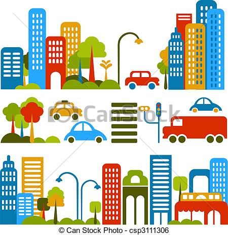 Place clipart city street City Clip vector illustration Cute